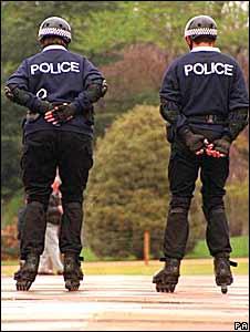Roller skating police in London