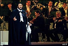 Pavarotti performs at the opening of the Winter Olympic games in 2006
