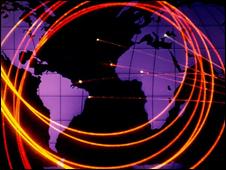 Fibre optics on a world map