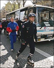 Skating policeman