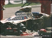 Ayrton Senna's wrecked car after his fatal crash at the San Marino Grand Prix