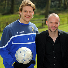 Cardiff City defender Glenn Loovens and composer James Fox
