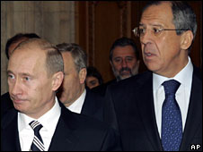 Vladimir Putin (L) and Sergei Lavrov at the Nato summit in Bucharest, Romania, 4 April 2008