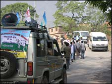 Royalist campaign vehicle in Nepal