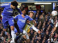 Michael Ballack glances in the Chelsea opener