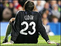 Chelsea's injured goalkeeper Carlo Cudicini