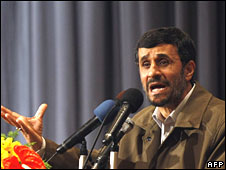 Iranian President Mahmoud Ahmadinejad in Tehran, 8 April 2008