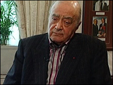 Mohamed Al Fayed (Pic: ITV News/PA)