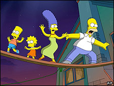 A scene from The Simpsons movie