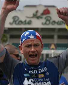Dave Heeley crossing the line at the Rose Bowl