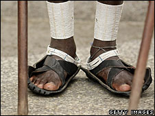 Maasai runners wearing car tyre shoes