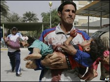 Wounded children in Baghdad