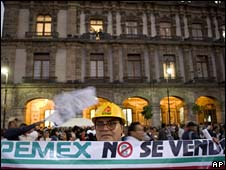 A rally against any reform of Pemex held on 18 March in Mexico City