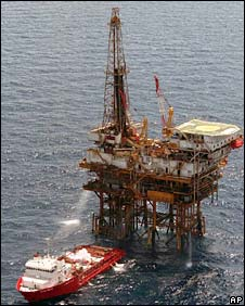 Undated file photo from Pemex showing oil installations in the Gulf of Mexico