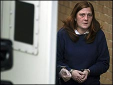 Karen Matthews leaving Dewsbury Police Station ahead of her court appearance