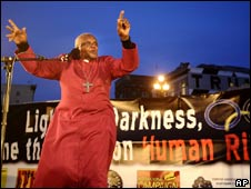 Archbishop Desmond Tutu addresses a vigil in San Francisco