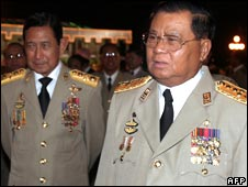 Senior General Than Shwe (R), file image