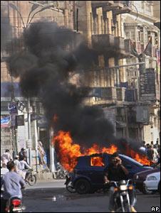 Violence broke out in Karachi on 9 April 2008