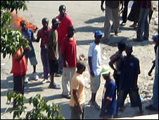 Tarun Pinto took this photograph of protesters in Haiti