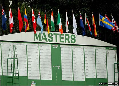 A large scoreboard is set up for the US Masters