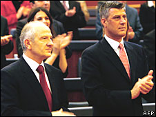 Kosovo's President Fatmir Sejdiu (L) and PM Hashim Thaci (R) at parliament in Pristina on 9 April 2008