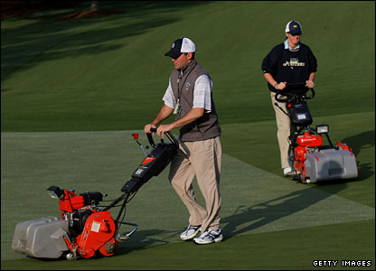 Ground staff prepare the course at Augusta