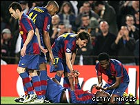 Barcelona players celebrate Yaya Toure's goal at the Nou Camp