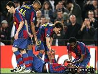 Barcelona players celebrate Yaya Toure's goal at the Nou Camp