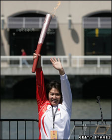 A torchbearer in San Francisco, 9 April 2008