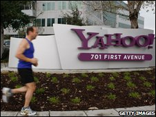 Jogger outside Yahoo's headquarters
