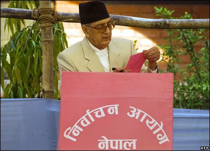 Nepalese Prime Minister Girija Prasad Koirala casts his vote in Biratnagar