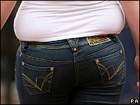 Fat lady in jeans