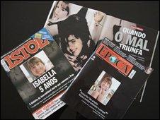 Magazine headlines on Isabella's story