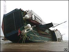 Initial image of the stranded ferry Riverdance