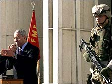 Colin Powell speaks at the US Embassy in Kabul in 2002
