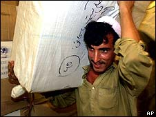 Afghans unload food aid in 2001