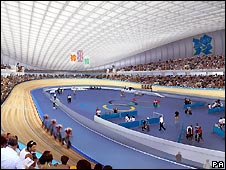 Artists impression of the design for interior of the Velo Park for the 2012 Olympic games