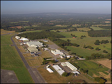 Aerial view of industrial units on the site