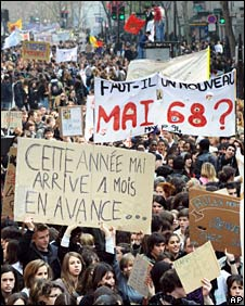 School students and teachers demonstrate in Paris against education reform, 10 Apr 08