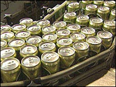 Carlsberg cans on assembly line