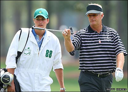 Sandy Lyle (right) with son and caddy Stuart
