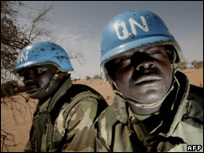 Nigerian soldiers with the joint UN-African Union mission to Darfur, March 2008