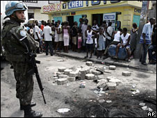 UN Brazilian peacekeepers in Port-au-Prince, 10 April, 2008