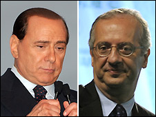 Silvio Berlusconi (left, AP photo) and Walter Veltroni (Getty photo) - both on 10/4/2008