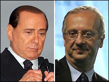 Silvio Berlusconi (left, AP photo) and Walter Veltroni (Getty photo) - both on 10/4/2008
