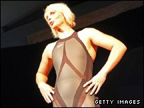 Australian swimmer Leisel Jones models the controversial Speedo suit