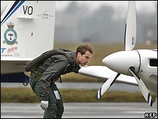 Prince William inspects a plane