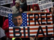 Bilal Hussein protest in Madrid, 8 April