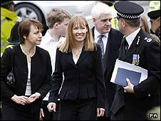 Michael Todd's widow Carolyn (centre) arrives at his memorial service
