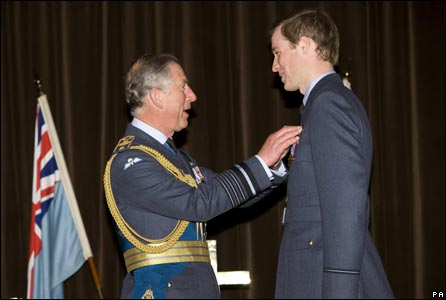 "Prince William receives his RAF ""wings"" from Prince Charles"